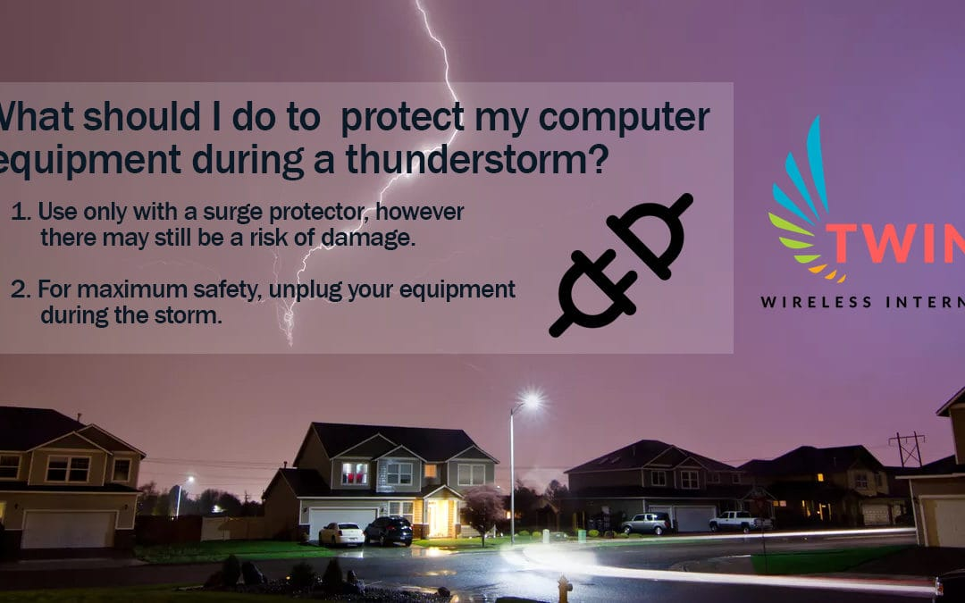 What should you do to protect your equipment during a thunderstorm?